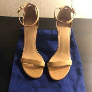 Stuart Weitzman Nude Block Heel Sandal 8M